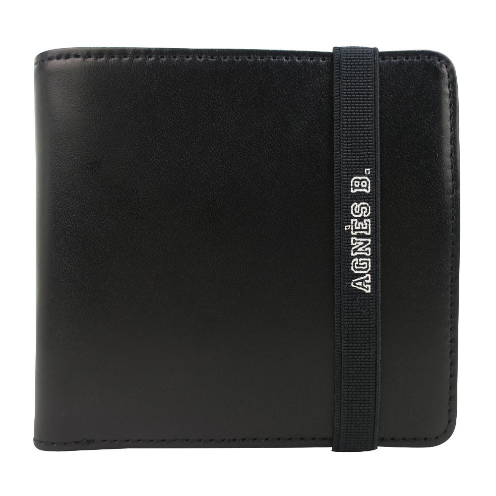 agnes b.LOGO束帶皮革短夾(內含零錢袋)(黑)