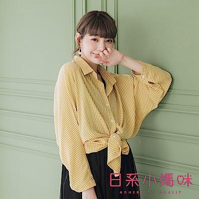 日系小媽咪孕婦裝-清新小格子泡泡袖雪紡襯衫上衣 (共三色)