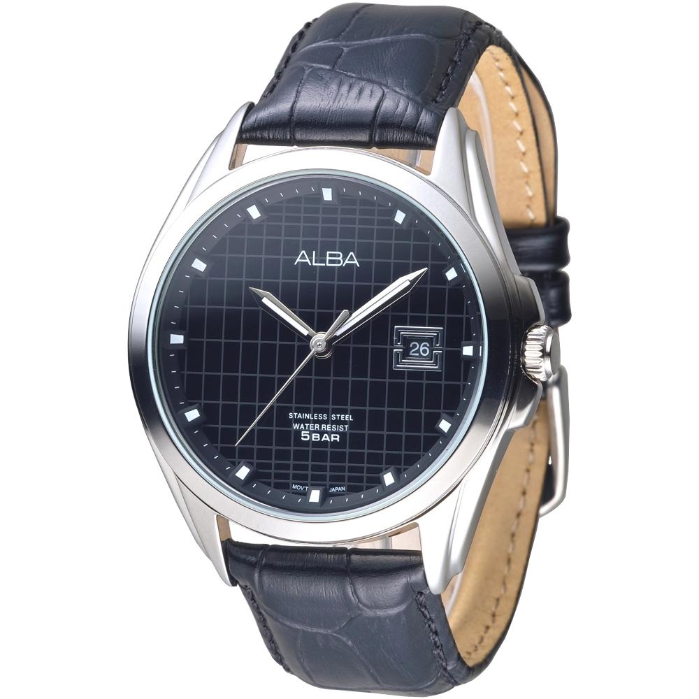 ALBA雅柏手錶 英倫情人紳士風男錶-真皮錶帶-黑(AS9C83X1)/44mm 保固二年
