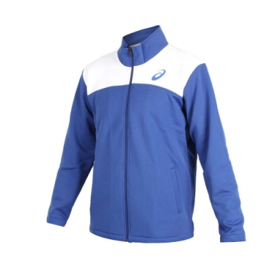ASICS 男針織外套-立領外套 慢跑 路跑 亞瑟士 藍白