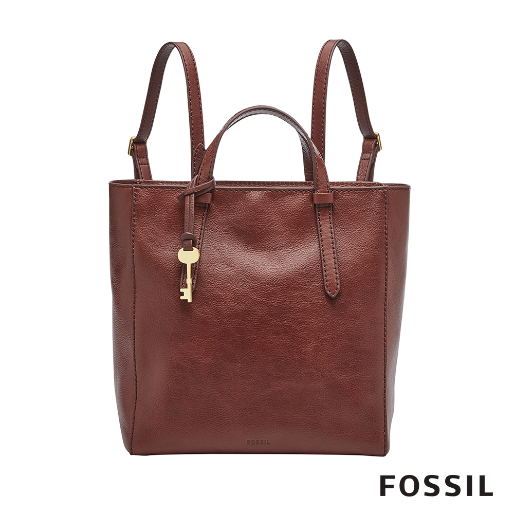 FOSSIL Camilla 俐落簡約手提真皮小方包-酒紅色 ZB7667227