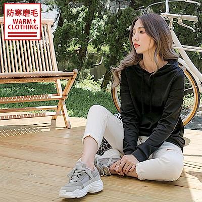 台灣製造~磨毛抗UV雙條拼接連帽運動上衣-OB大尺碼