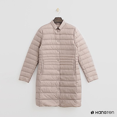 Hang Ten - 女裝 -小立領長板修身羽絨外套-灰