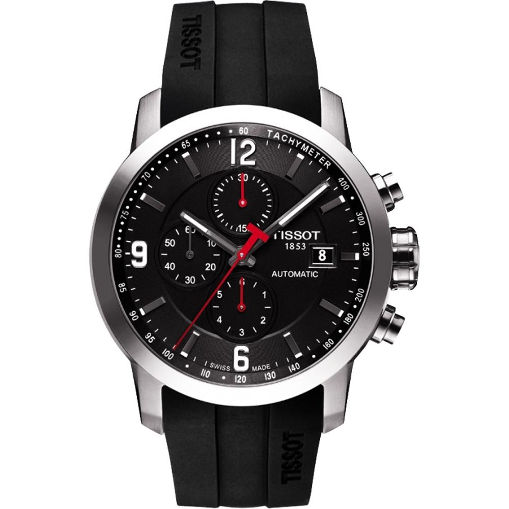 TISSOT T-Sport PRC200 競速三眼計時機械橡膠錶帶腕錶-黑/43mm T0554271705700