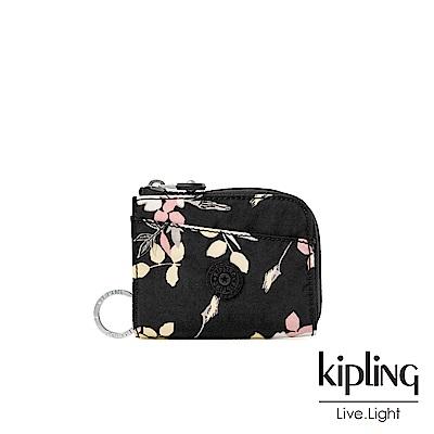Kipling 沉靜黑浪漫花卉實用拉鍊短夾-AWATIK