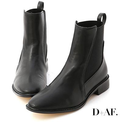 D+AF 酷派率性.撞色拼接切爾西短靴*黑