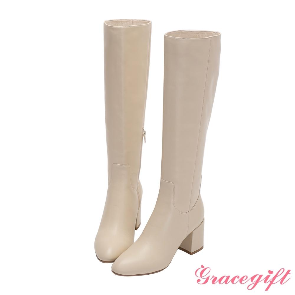Grace gift X Jessica-聯名全真皮膝下高跟長靴 米白