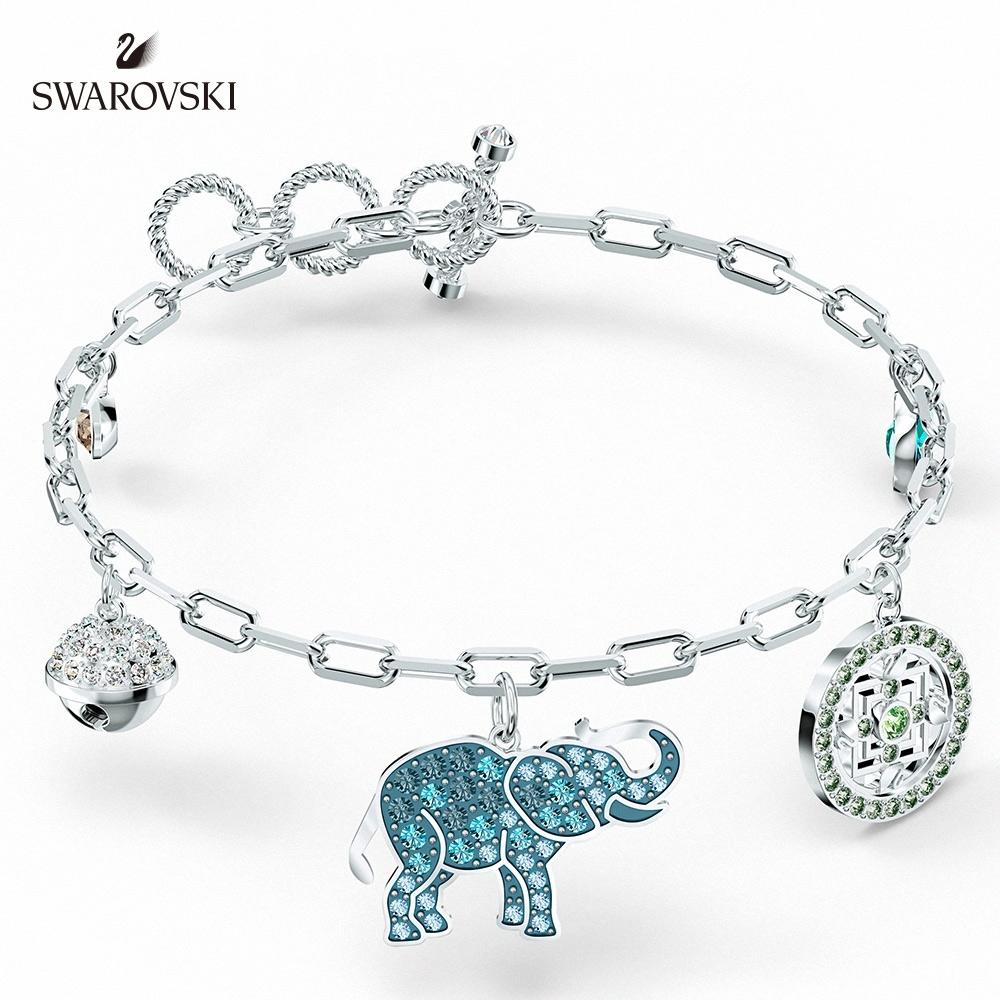 施華洛世奇 Elephant 白金色漸層大象手鏈