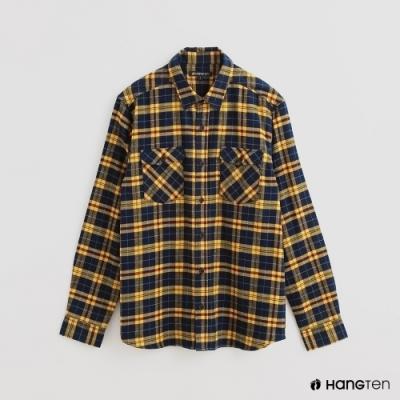 Hang Ten - 男裝 - 北歐風配色格紋長袖襯衫 - 藍