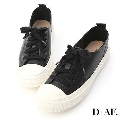 D+AF 樂活假期.柔軟皮革綁帶休閒鞋*黑