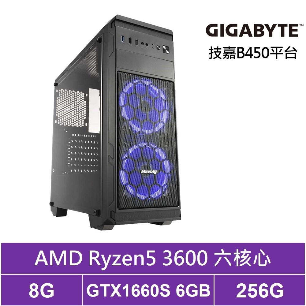 技嘉B450平台[魂鬥英雄]R5六核GTX1660S獨顯電玩機