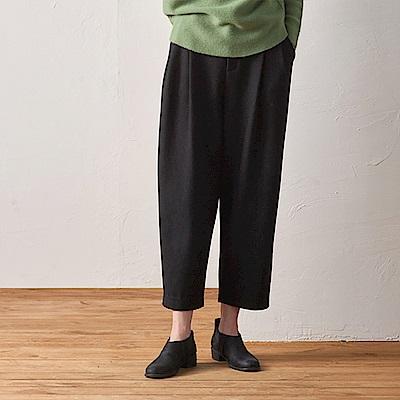 旅途原品_有緣人_原創設計簡約毛呢蘿蔔褲-黑