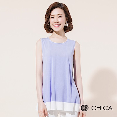 CHICA 結構美學撞色拼接無袖針織衫(2色)