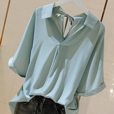 初色  寬鬆V字翻領襯衫-共3色-(M-2XL可選)