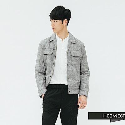 H:CONNECT 韓國品牌 男裝-復古細格紋西裝領外套-灰