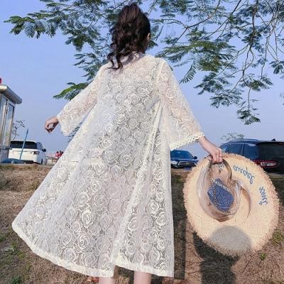 百搭楓葉蕾絲開衫長版網紗白色防曬衣外套F-維拉森林