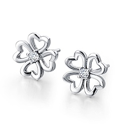 米蘭精品 925純銀耳環-鏤空四葉草鑲鑽耳環