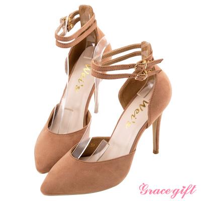 Grace gift X Wei唐葳-雙踝帶底釦細高跟鞋 粉
