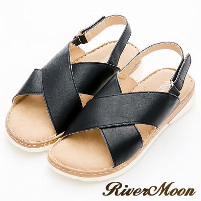 River&Moon涼鞋-簡約寬版皮質交叉輕量機能涼拖鞋-黑