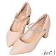 Ann'S百變公主鞋-可拆鑽石繫帶瑪莉珍粗跟尖頭鞋 -粉 product thumbnail 1