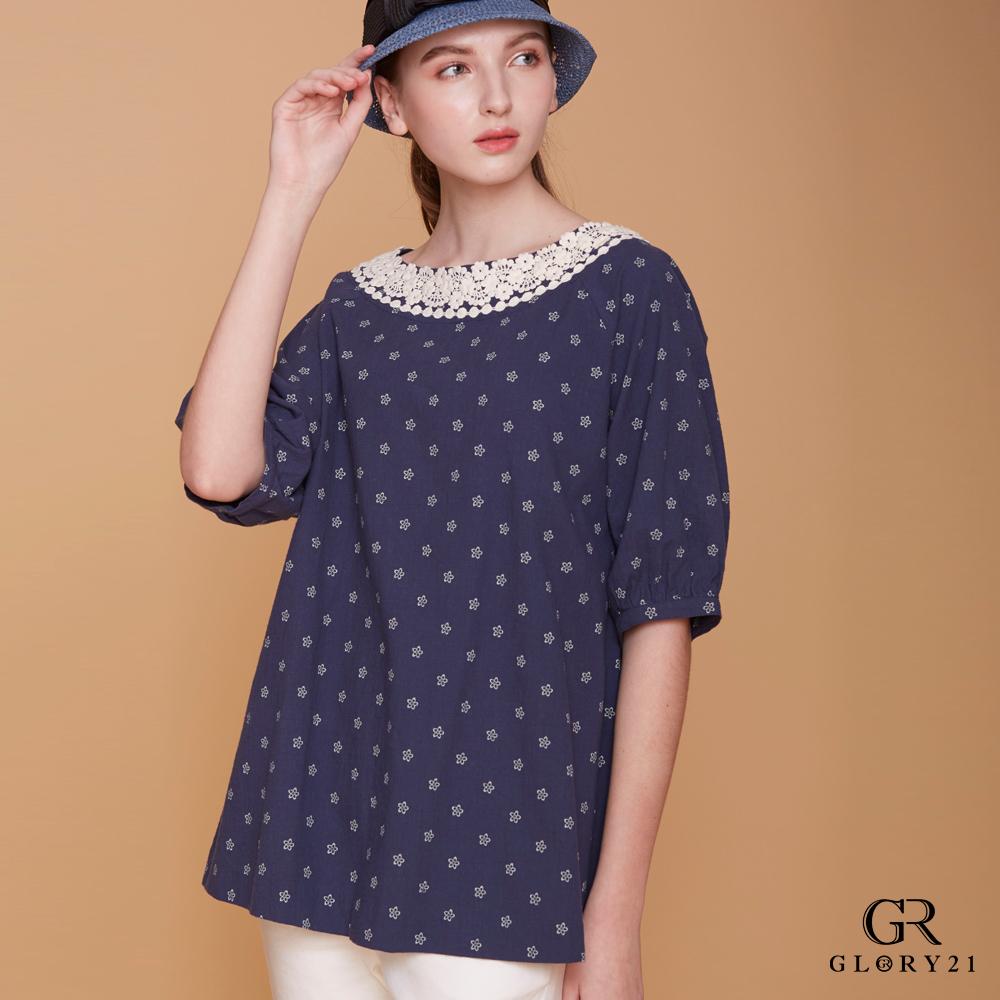 GLORY21 蕾絲花圓領造型上衣-深藍