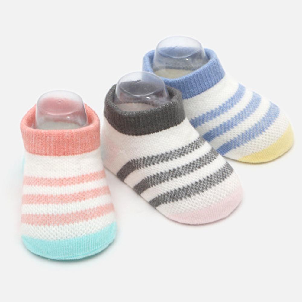 JoyNa 薄款條紋寶寶襪子 新生兒船襪 -三雙入