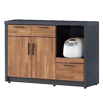 文創集 羅姆時尚4尺雙色二門餐櫃/收納櫃-120x40x82cm免組