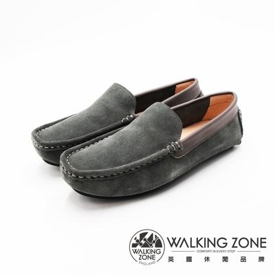 WALKING ZONE 舒適柔軟真皮豆豆鞋 男鞋-鐵灰(另有黑)