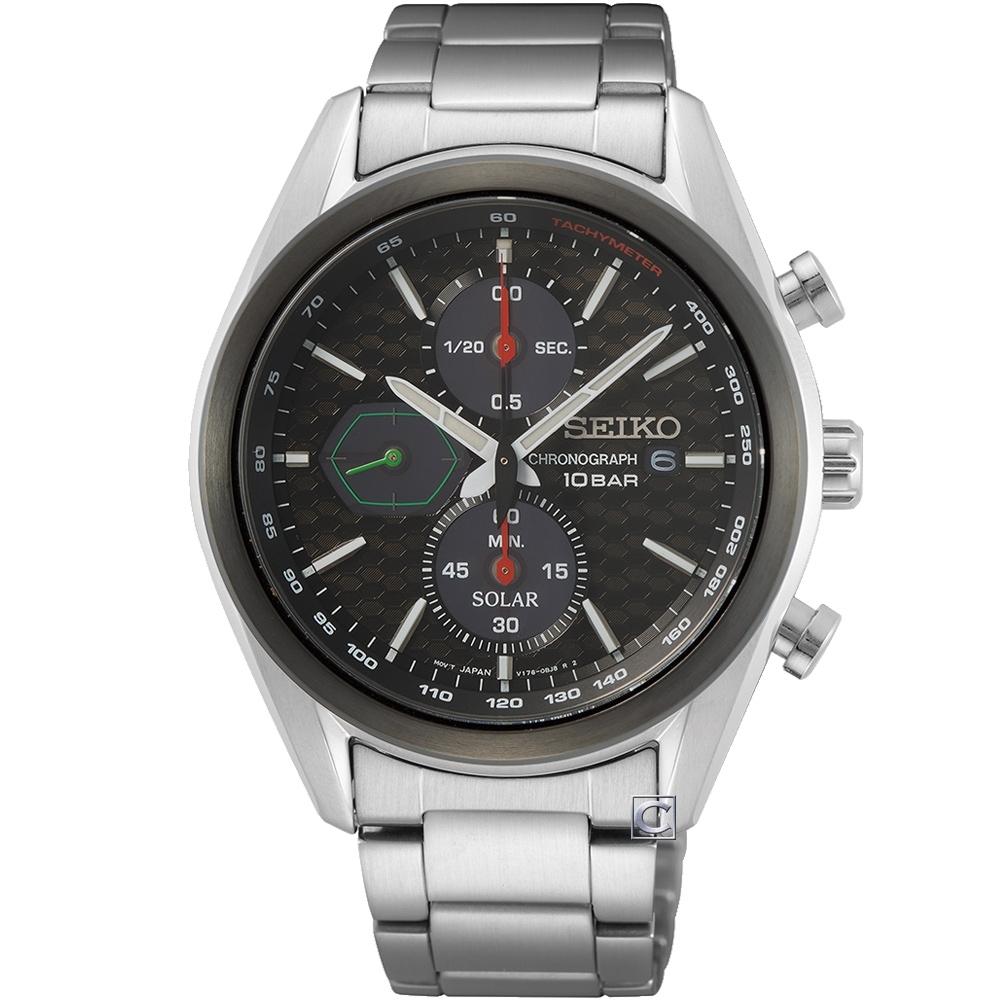 SEIKO 精工 喬治亞羅設計三眼計時太陽能男錶(SSC803P1)V176-0BH0D