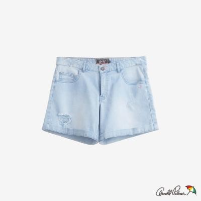 Arnold Palmer-女裝-涼感紗褲口反摺牛仔短褲-淺藍