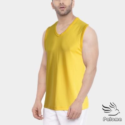 Paloma台灣製極涼感網眼排汗寬肩背心-黃色 背心