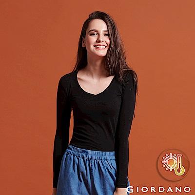 GIORDANO 女款Beau-warmer plus+彈力V領極暖衣-08 黑色
