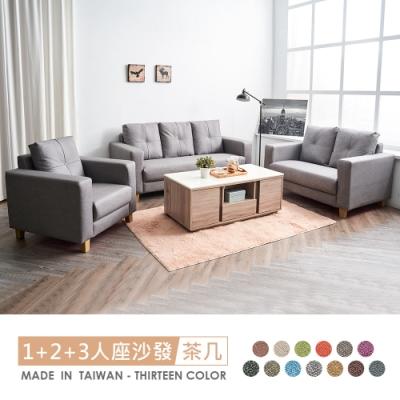 時尚屋 伊奈1+2+3人座獨立筒貓抓皮沙發(共13色)+凱希石面茶几