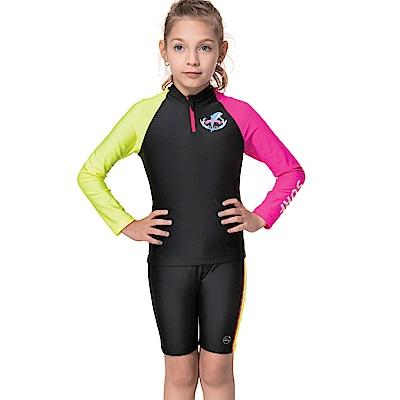 沙兒斯 兒童泳裝 防曬防寒兩件式長袖兒童泳裝水母裝