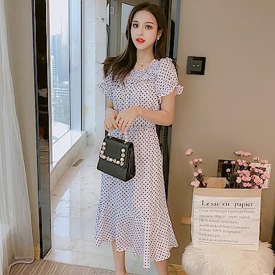 韓版氣質波點魚尾裙洋裝S-XL(共三色)-Dorri