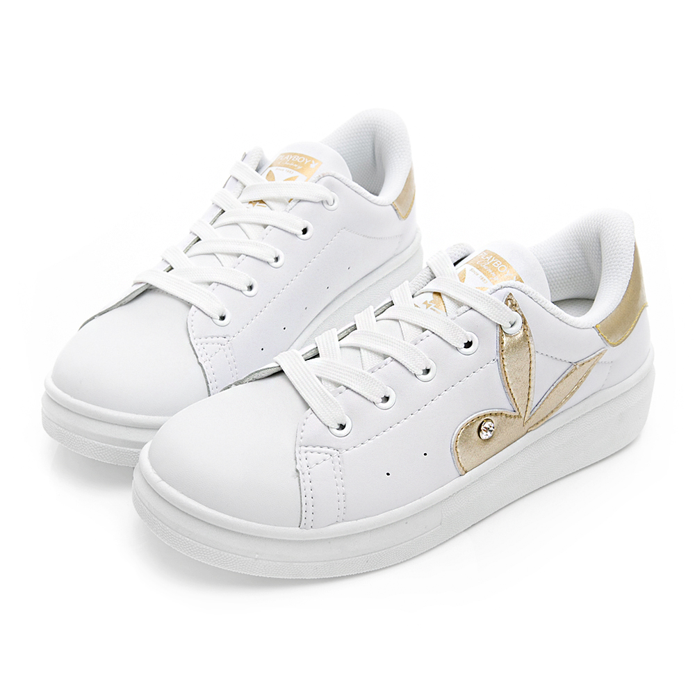 PLAYBOY 簡約仿皮綁帶休閒鞋-白金-Y522015