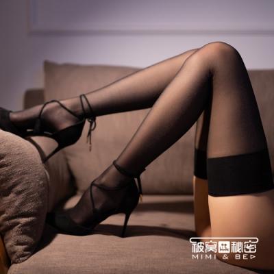 大腿襪  寬邊微光素淨裸色絲襪。女王黑色  被窩的秘密