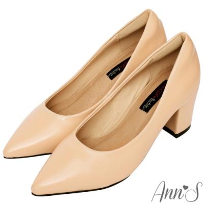Ann'S加上優雅高跟版-復古皮革沙發後跟尖頭鞋-杏