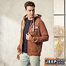 JEEP 休閒美式風格保暖連帽外套 -咖啡色