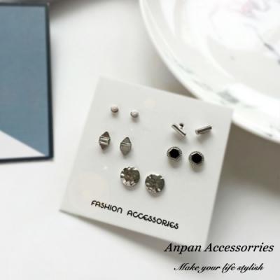 【3件51折】ANPAN愛扮韓國氣質水波紋圈耳釘式耳環五件套組-銀