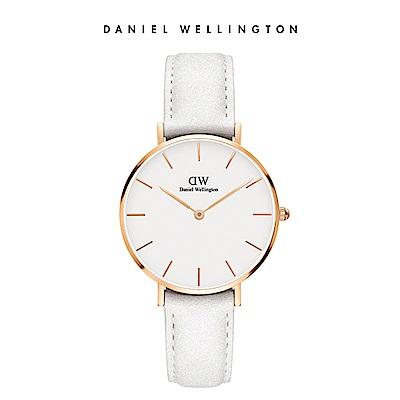 DW 手錶 官方旗艦店 32mm玫瑰金框 Petite 純真白真皮皮革錶