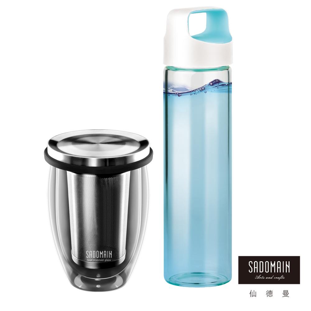 仙德曼SADOMAIN雙層玻璃濾萃杯350ML+養生玻璃壺600ML(顏色隨機)