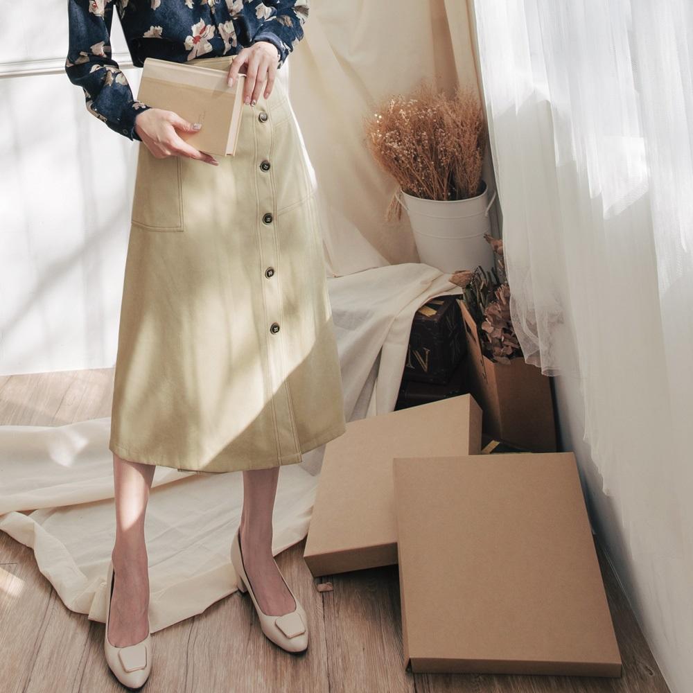 配色車線造型口袋木紋排釦磨毛長裙-OB大尺碼