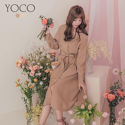 東京著衣-YOCO 香榭鄰家腰車線排釦附綁帶V領洋裝(共兩色)