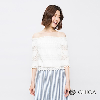 CHICA 浪漫雪語蕾絲縮腰一字領上衣(2色)