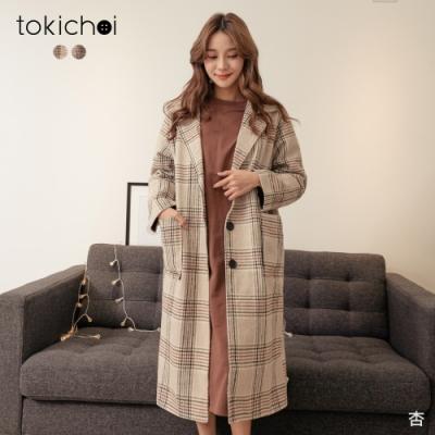 東京著衣 甜心百搭V領格紋排釦磨毛大衣外套