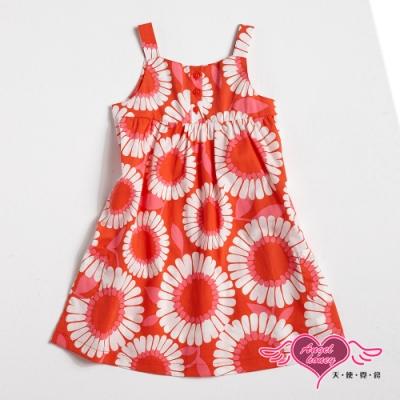 【天使霓裳-童裝】浪漫綻放 可愛花朵無袖小洋裝(橘紅)