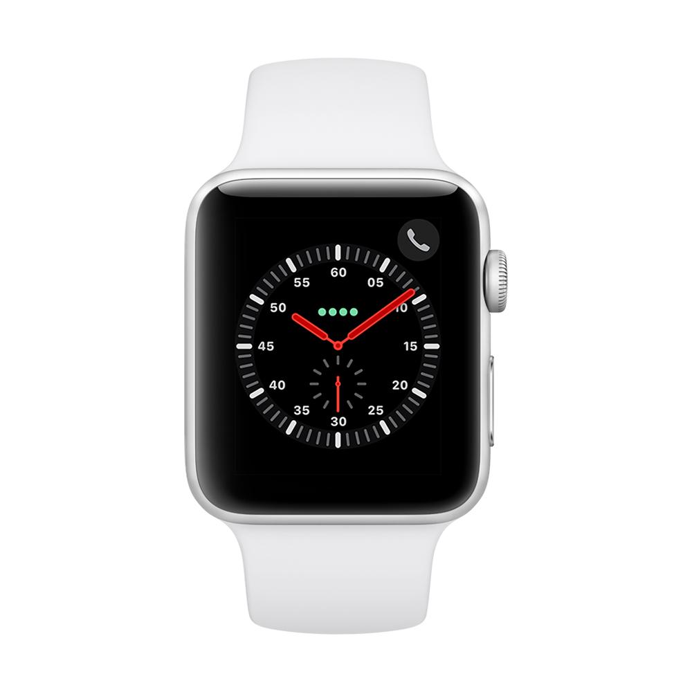 Apple Watch Series 3(GPS+網路) 42mm銀色鋁金屬錶殼+白色錶帶