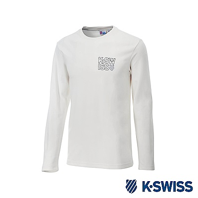 K-Swiss Long Sleeve T-Shirts 印花長袖T恤-男-白