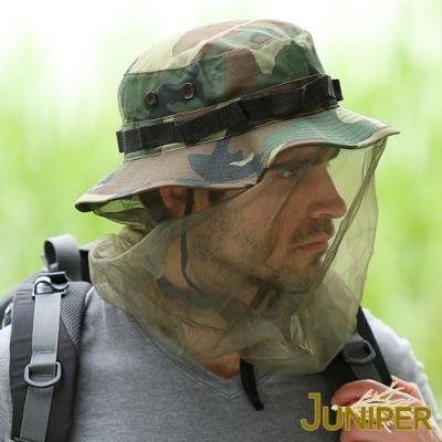 JUNIPER 戶外抗紫外線UV防蚊防蜂大尺寸全罩式迷彩紗網蚊帳帽